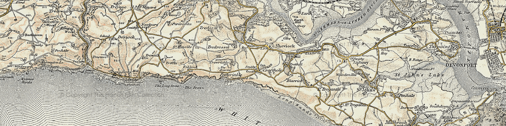 Old map of Crafthole in 1899-1900