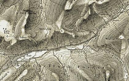 Old map of Allt Coire a' Bhàinidh in 1908-1909