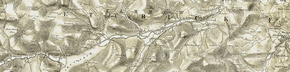 Old map of Altrieve Burn in 1904