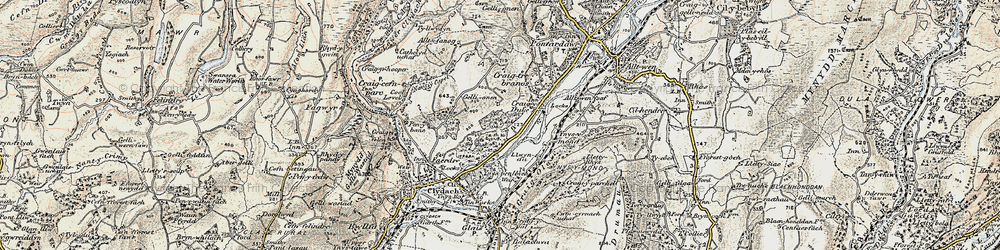 Old map of Ynys-y-mond in 1900-1901