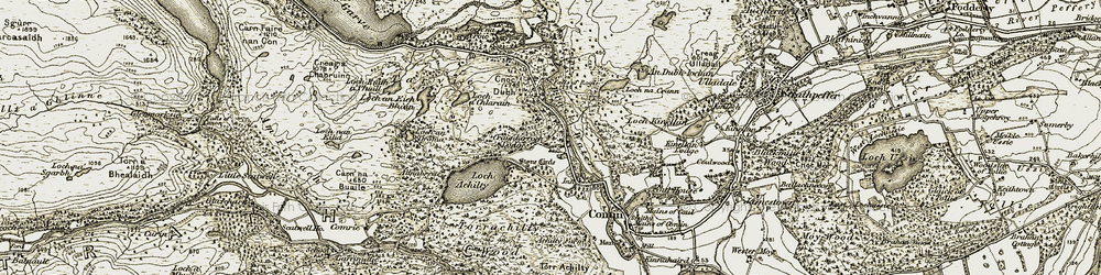 Old map of Altnabreac in 1908-1912