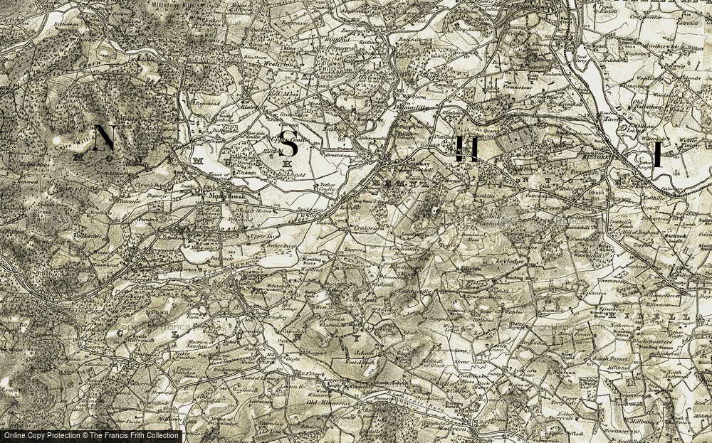 Old Map of Historic Map covering Lang Stane o'Craigearn in 1909-1910