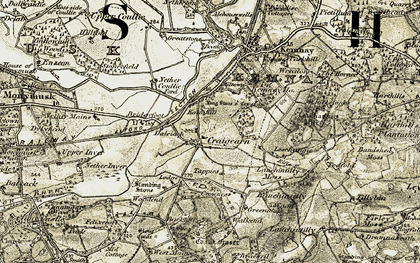 Old map of Lang Stane o'Craigearn in 1909-1910