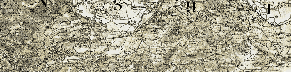 Old map of Woodend in 1909-1910