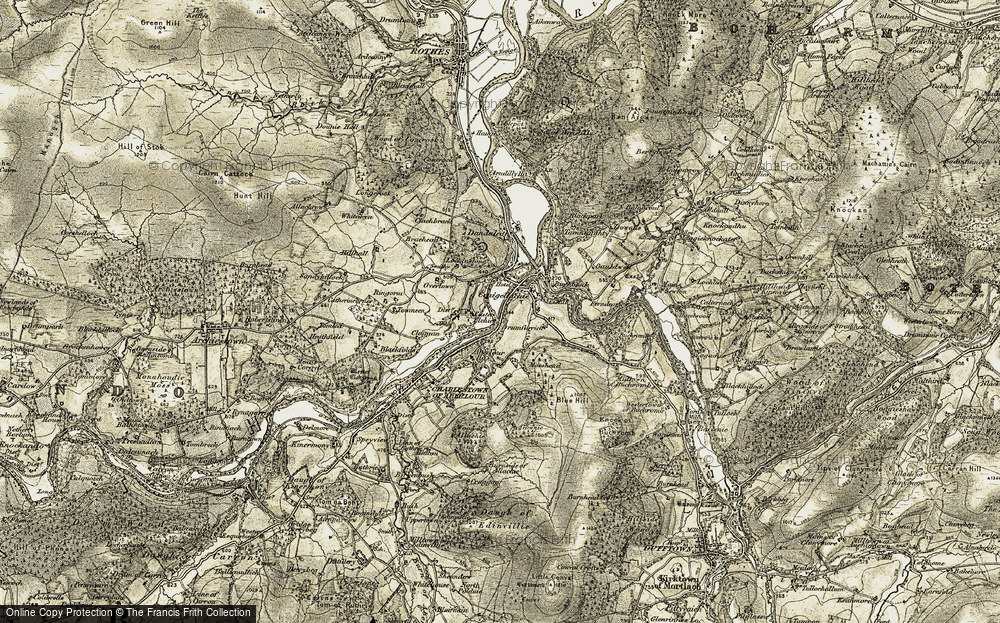 Old Map of Historic Map covering Aberlour Ho in 1908-1911