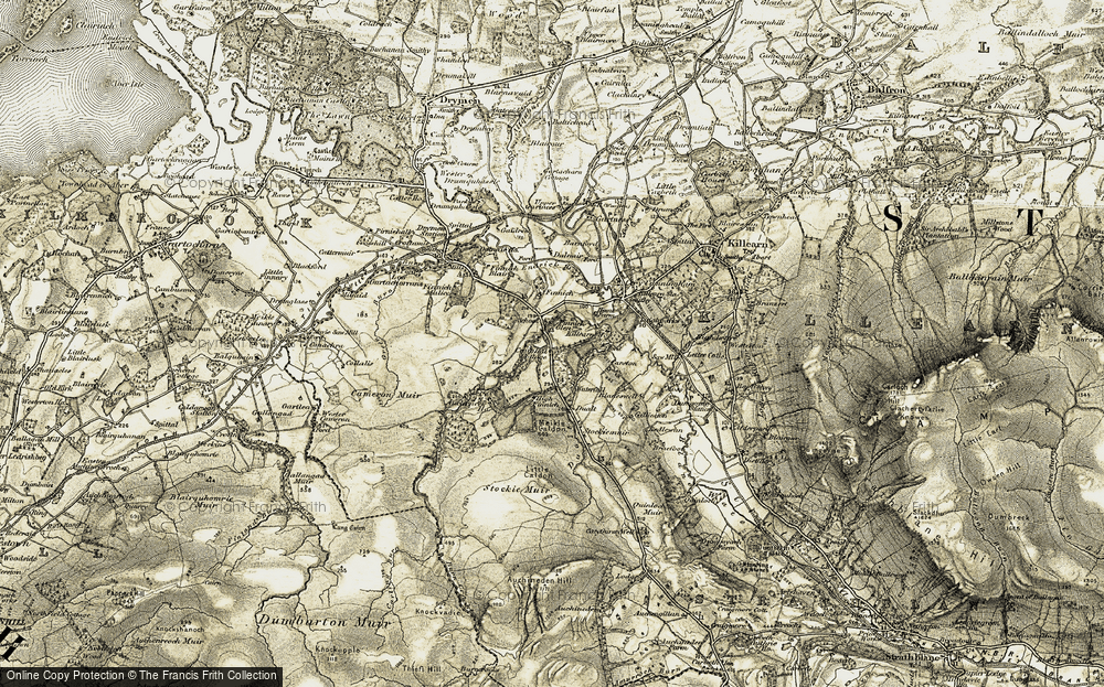 Old Map of Historic Map covering Aucheneck Ho in 1905-1907