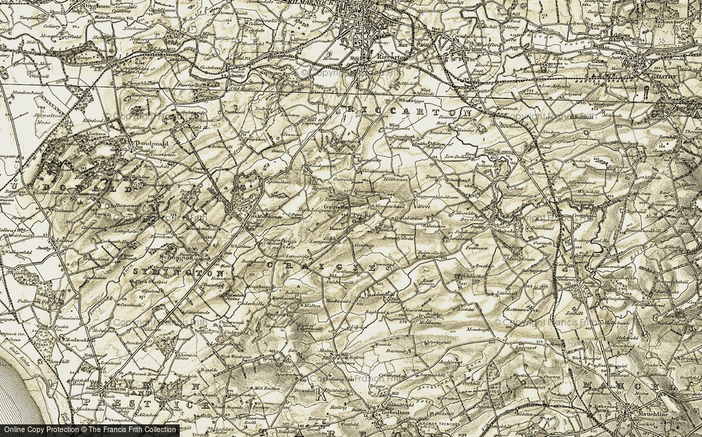 Old Map of Historic Map covering Adamhill in 1905-1906