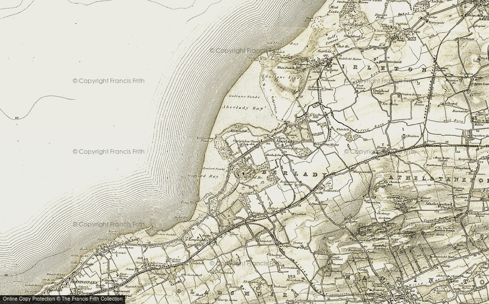 Old Map of Historic Map covering Aberlady Bay in 1903-1906