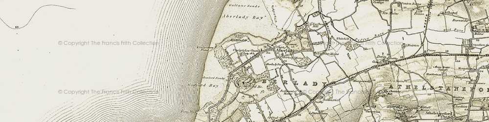 Old map of Aberlady Bay in 1903-1906