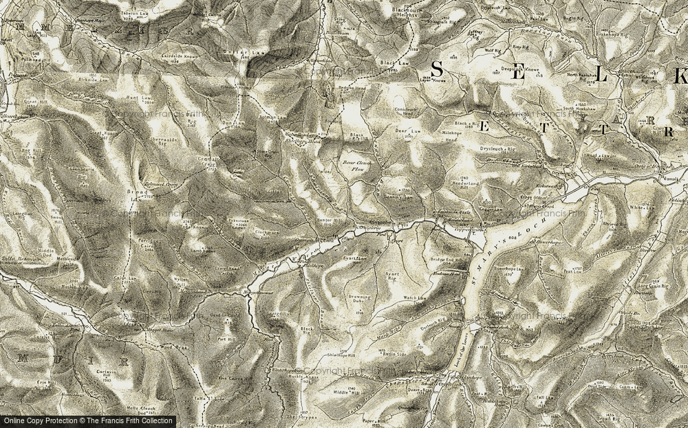 Old Map of Historic Map covering Linghope Burn in 1904