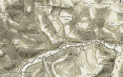Old map of Linghope Burn in 1904