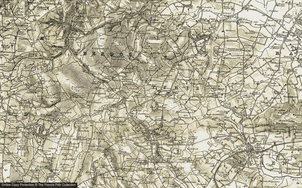 Old Map of Historic Map covering Langleys in 1909-1910