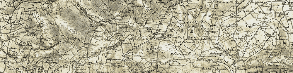 Old map of Tillinamolt in 1909-1910