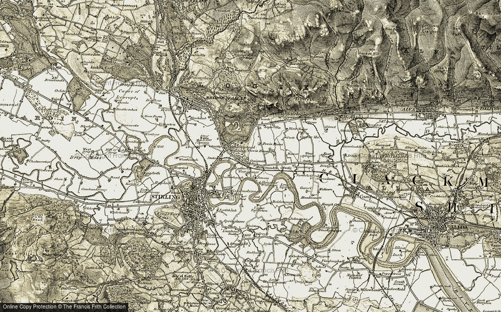 Old Map of Historic Map covering Abbey Craig in 1904-1907