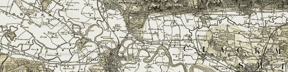 Old map of Abbey Craig in 1904-1907