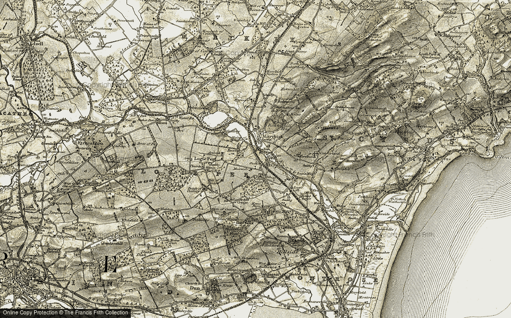 Old Map of Historic Map covering Balmanno Ho in 1907-1908