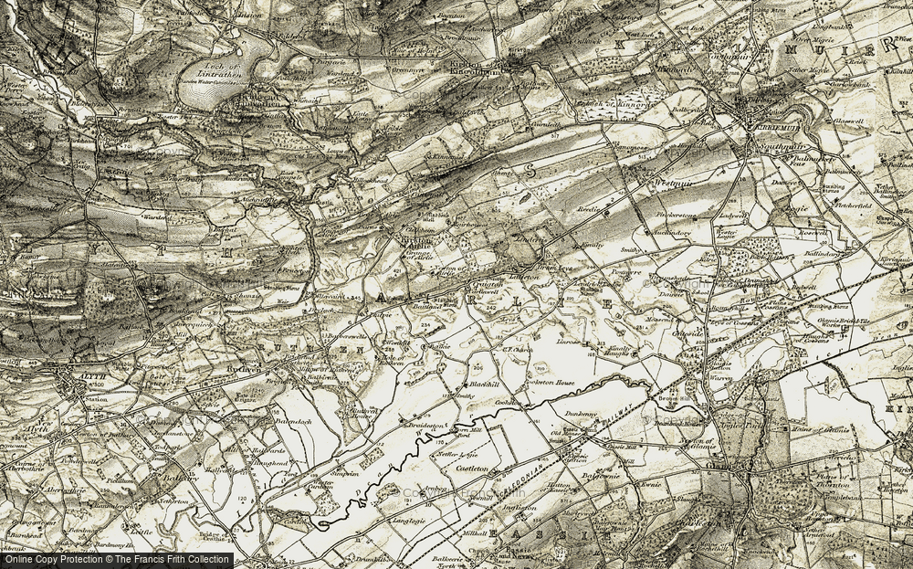 Old Map of Historic Map covering Lindertis in 1907-1908