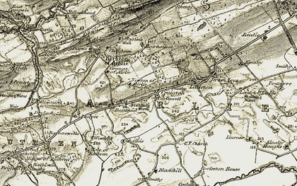 Old map of Leys of Lindertis in 1907-1908