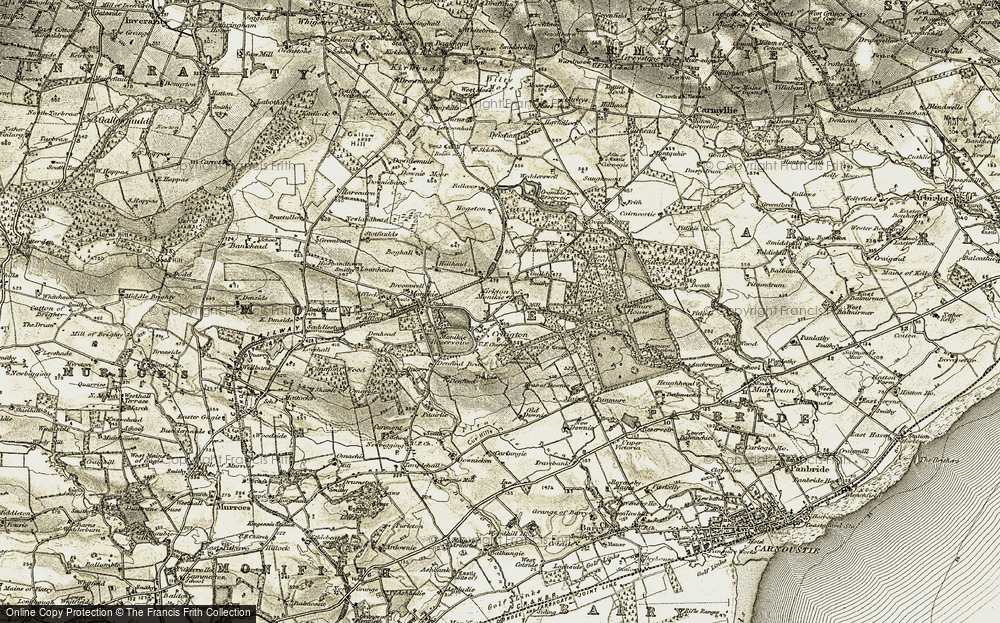 Old Map of Historic Map covering Law, The in 1907-1908