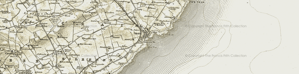 Old map of West Ness in 1906-1908