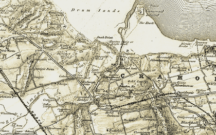 Old map of Cramond in 1903-1906