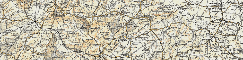 Old map of Angley Ho in 1897-1898