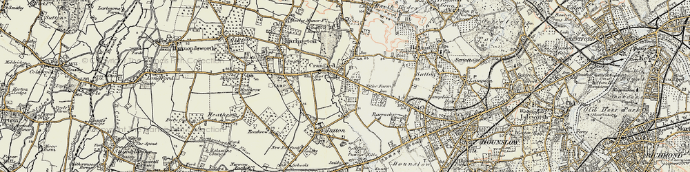 Old map of Cranford in 1897-1909