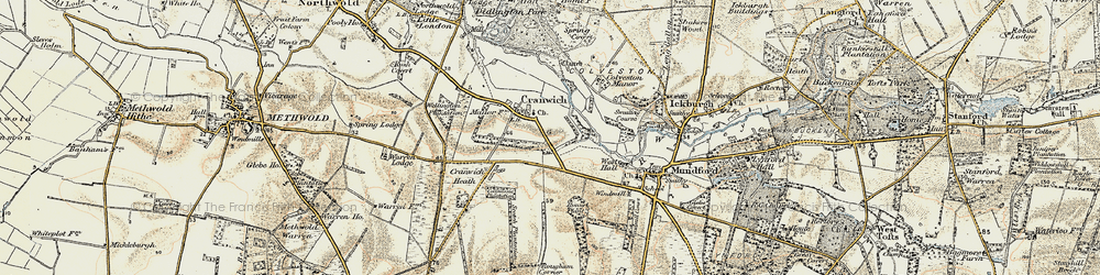 Old map of Cranwich in 1901-1902