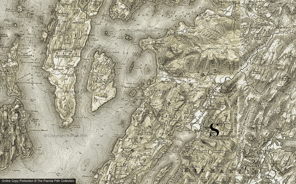 Old Map of Historic Map covering Lergychoniemore in 1906-1907
