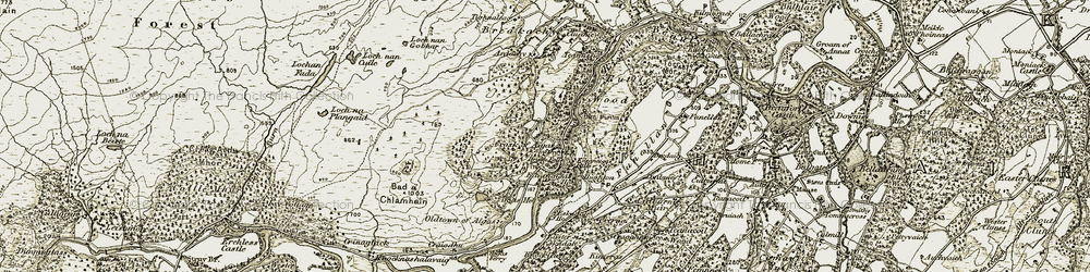 Old map of Tighnaleac in 1908-1912