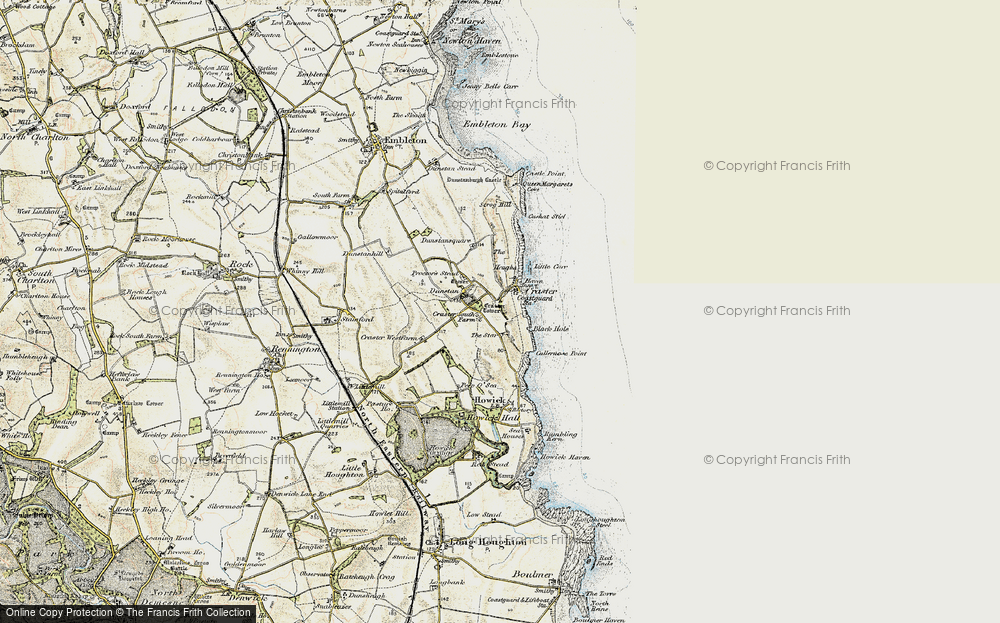 Old Map of Craster, 1901-1903 in 1901-1903