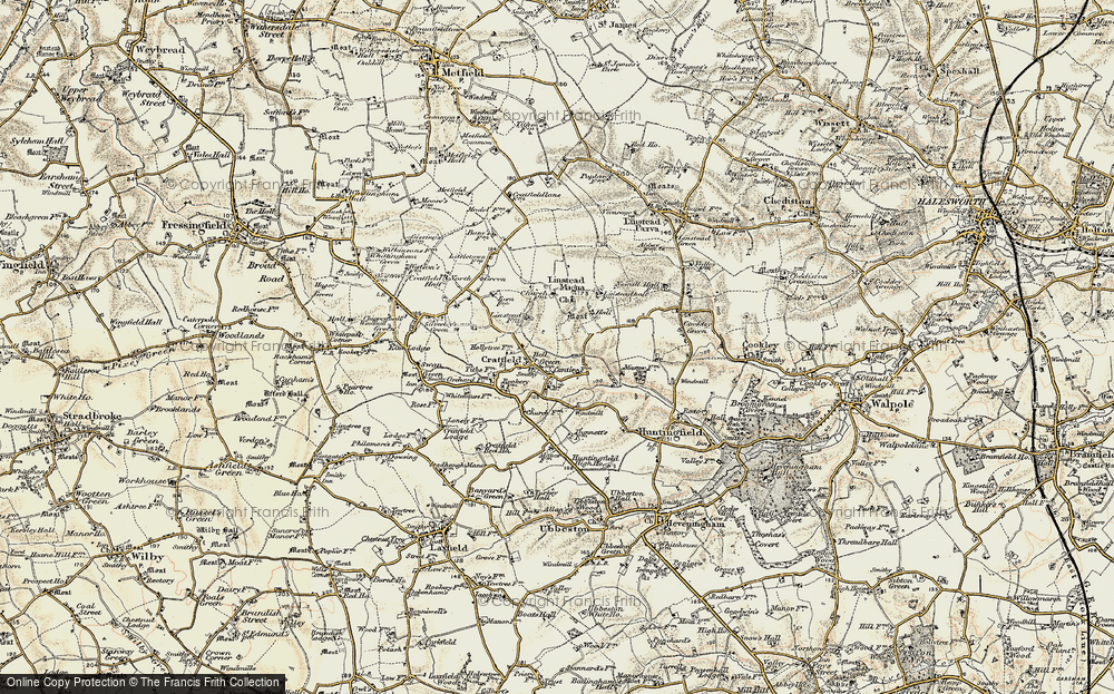 Old Map of Historic Map covering Linstead Hall in 1901-1902