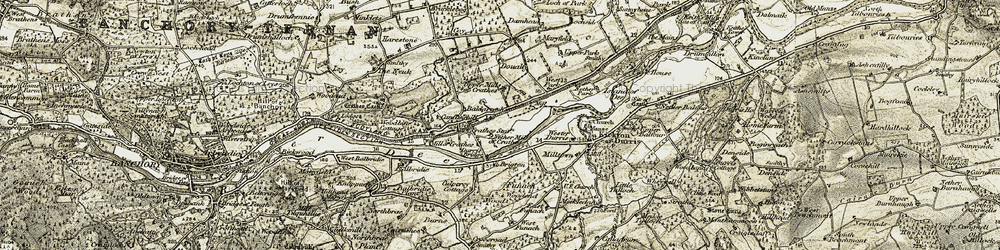 Old map of Wester Durris in 1908-1909