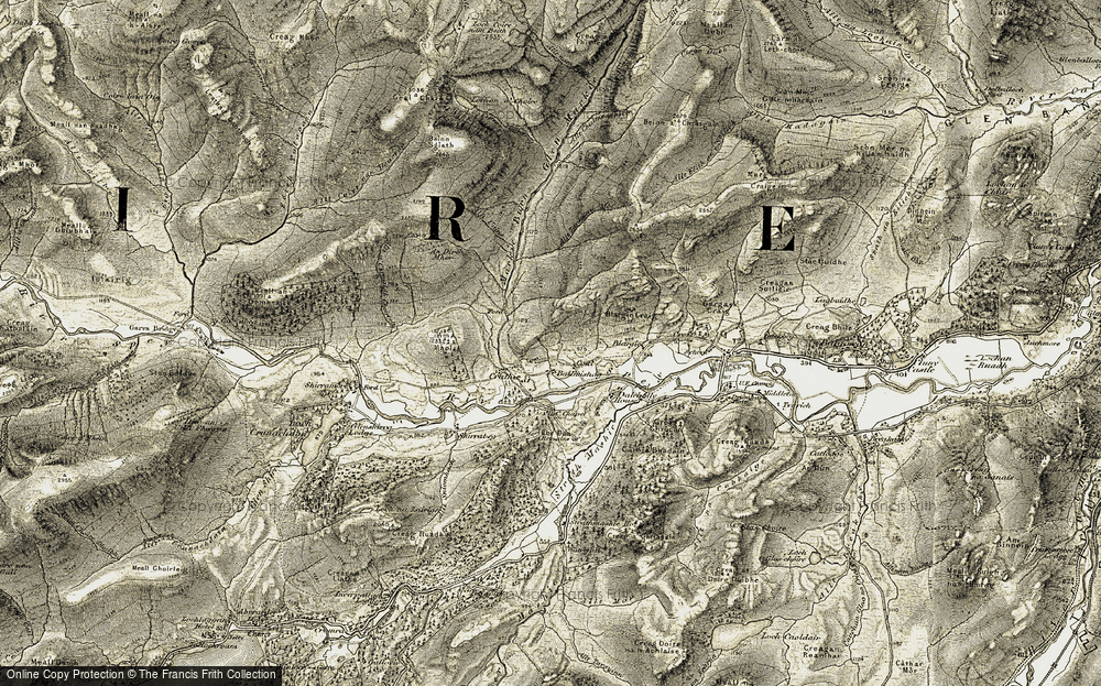 Old Map of Historic Map covering Ballmishag in 1908
