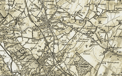 Old map of Langshaw in 1904-1905