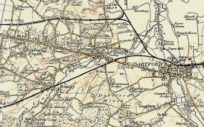 Old map of Crayford in 1897-1898
