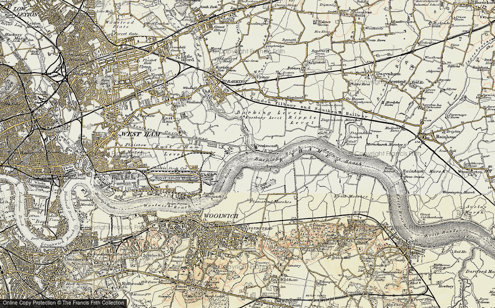 Old Map of Historic Map covering Barking Creek in 1897-1902