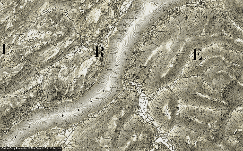 Old Map of Historic Map covering Tom an Sgalaig in 1906-1907