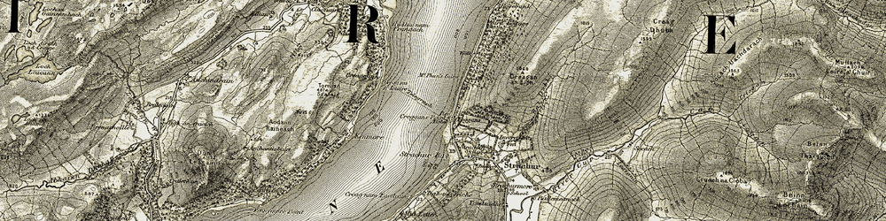 Old map of Ardnagowan in 1906-1907
