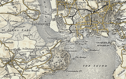 Old map of Cremyll in 1899-1900
