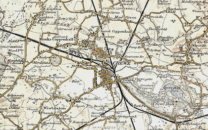 Old map of Crewe in 1902-1903