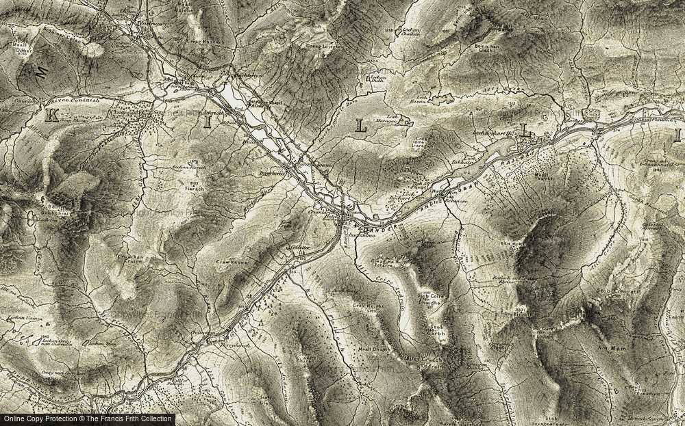 Old Map of Historic Map covering Allt Coire Ardrain in 1906-1907