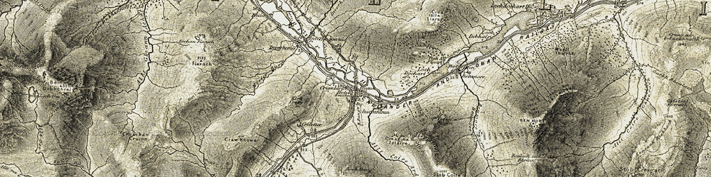 Old map of Allt Coire Ardrain in 1906-1907