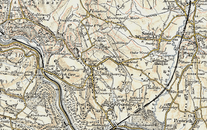 Old map of Crich in 1902-1903