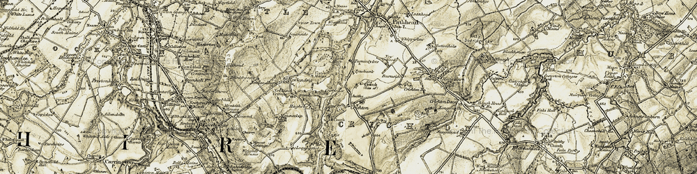 Old map of Crichton Castle in 1903-1904