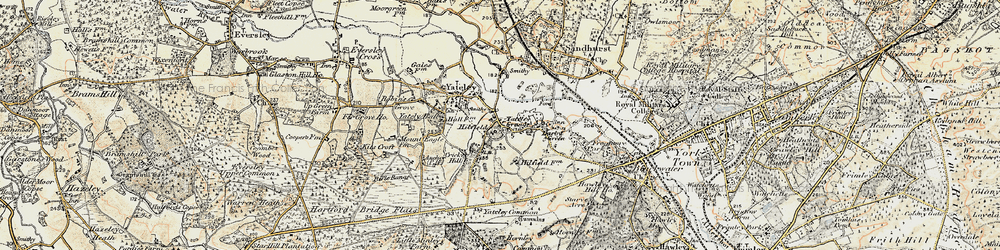 Old map of Yateley Common in 1897-1909