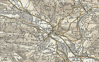 Old map of Crickhowell in 1899-1901
