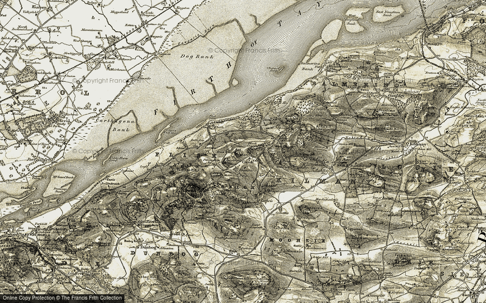 Old Map of Historic Map covering Balhelvie in 1906-1908