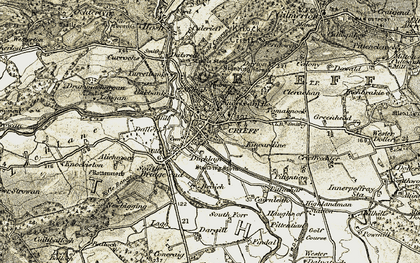 Old map of Crieff in 1906-1907