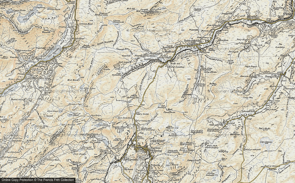 Old Map of Historic Map covering Afon Gorddinan in 1903